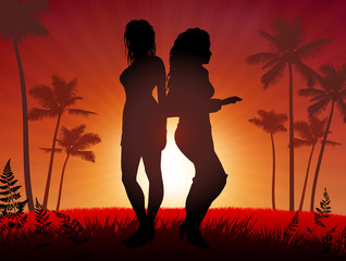 Sexy Young Women on Sunset Background