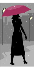 Illustration of silhouette of a lady walking in rain