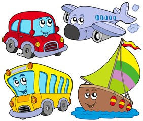 Various cartoon vehicles