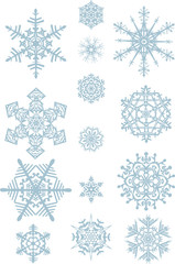 big and small blue snowflakes