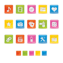 Glossy Square Icons - Multimedia