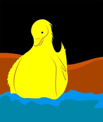 Illustration of a duck in water