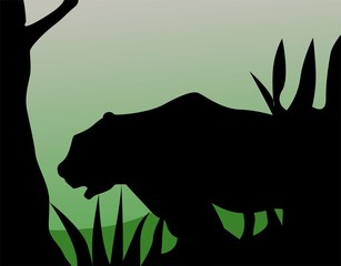 Illustration of a silhouette of a tiger