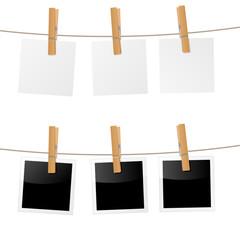 Wäscheleine mit Wäscheklammern und Zetteln