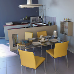 dining room interior and furniture