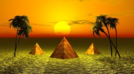 three pyramids and landscape yellow