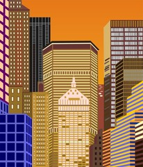 Nowy York wieżowce o zachodzie słońca