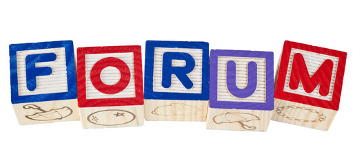 Wooden blocks forming the word forum isolated on white