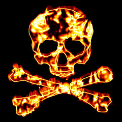 Fiery Skull and Crossbones