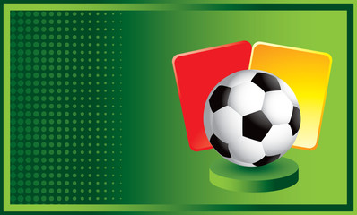 soccer ball with penalty cards green halftone template