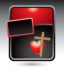 cross and heart red stylized template
