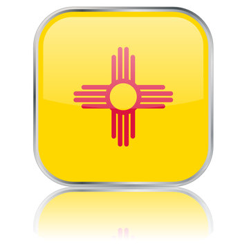 New Mexico State Square Flag Button (USA New Mexican Vector Web)