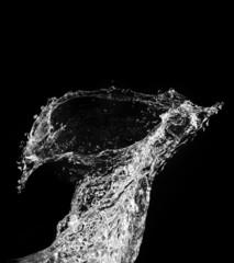 Stylish water splash. Isolated on black background