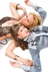 young women lying on floor