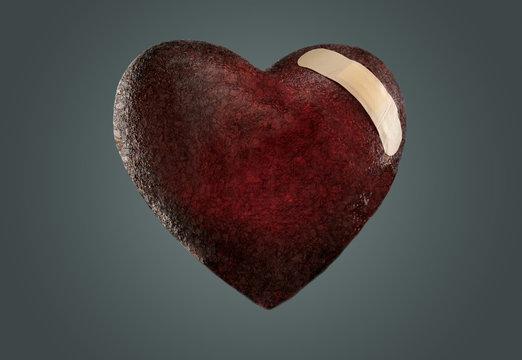 Bandaged Black Heart of Stone