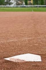 Home plate at a baseball diamond