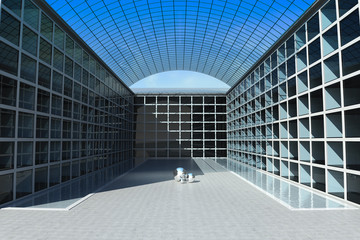 Office building with water canals on inside square