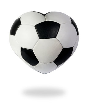 Heart as black white soccer ball on the white background