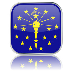 Indiana State Square Flag Button (USA America Vector Reflection)