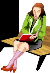 Illustration of business women reading in the book