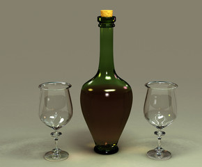 Bottle with glasses