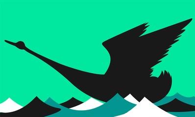 Illustration of a swan flying