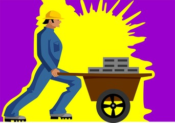 Illustration of silhouette of man working in