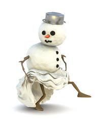 Schneemann stielt sich langsam davon