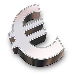 3d euro symbol chrome