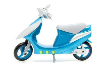 blue scooter over white background