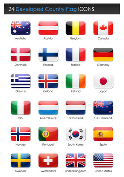24 Developed Countries Flag - Rectangle Icons