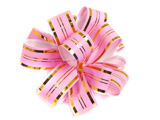 Pink stripy holiday ribbon for presents and gifts