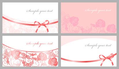 Congratulatory cards in pink tones