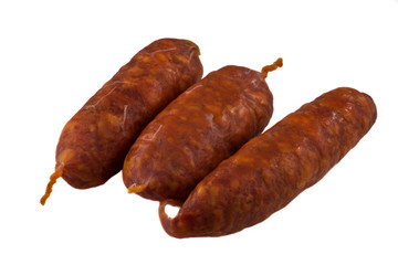 chorizo sausage isolated on a white background.