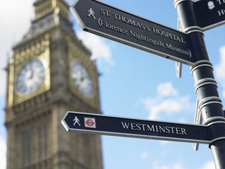 Sign Post In Front Of Big Ben, London, England