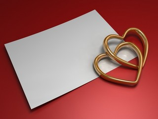 Gold hearts with white paper on a red background