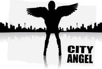 city angel abstract vector
