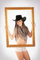 Cowgirl and frame