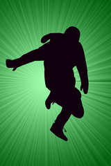 Breakdancer Dancing with mittens Silhouette illustration.