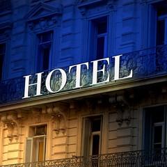 bicolor Illuminated hotel sign