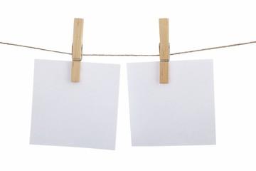 Notizzettel auf Wäscheleine