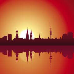 Hamburg Panorama - Sonnenuntergang