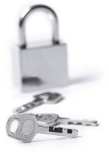 Lock and keys on the white background