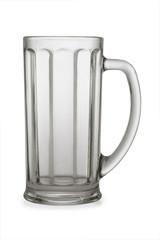 An empty beer mug on white