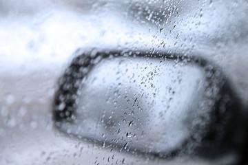 waterdrops on car window ,driver`s side