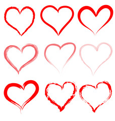 Collection of red artistic hand drawn hearts.