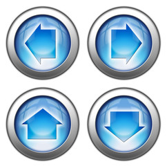 Arrow Buttons, glossy 3d effect, blue on white background