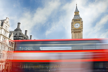London bus passing in front of Big Ben