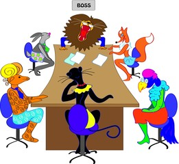 The negotiations in an office of the boss with employees