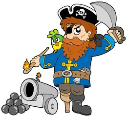 Zelfklevend Fotobehang Piraten Cartoon pirate with cannon